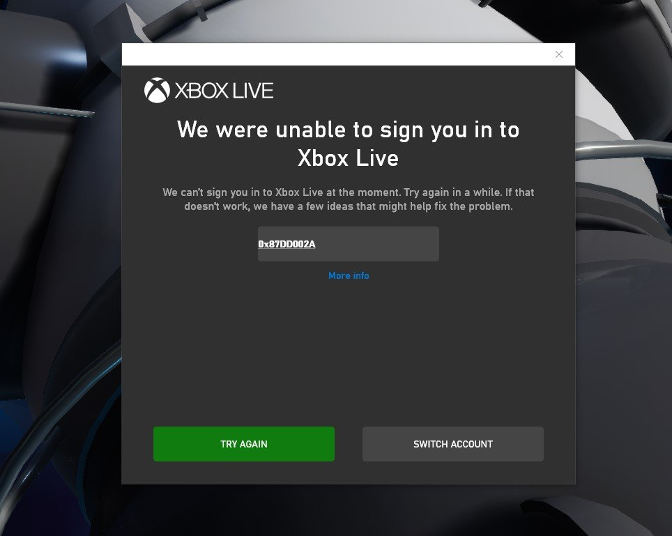 Can't play due to Xbox Live sign in error - Bug Reports