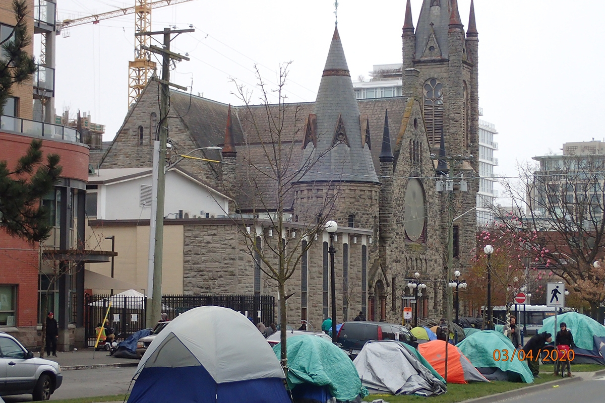 Tents have sprung up along Pandora Avenue as a result of COVID-19 related limitations at Our Place