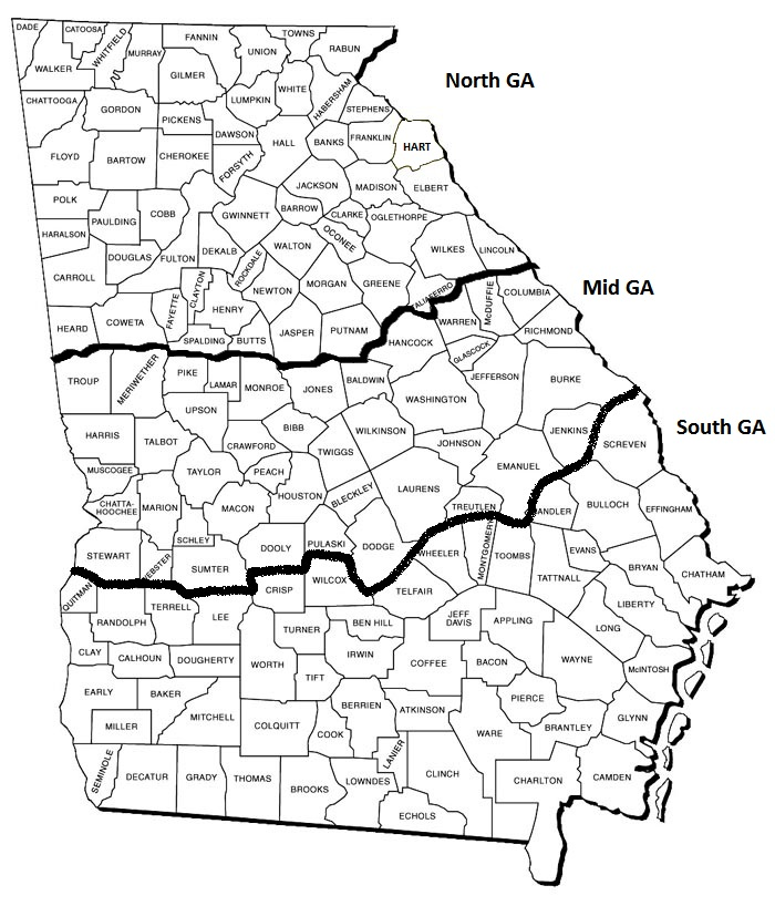 South Georgia County Map Georgia Map - County map of georgia