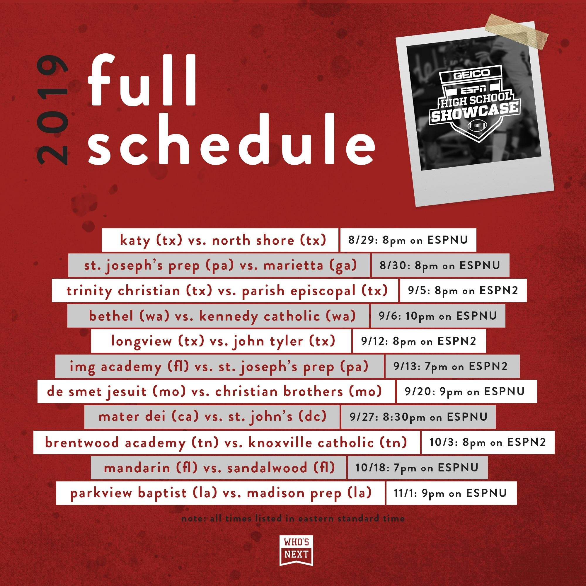 ESPN U schedule - Varsity Forum - PrepGridiron com