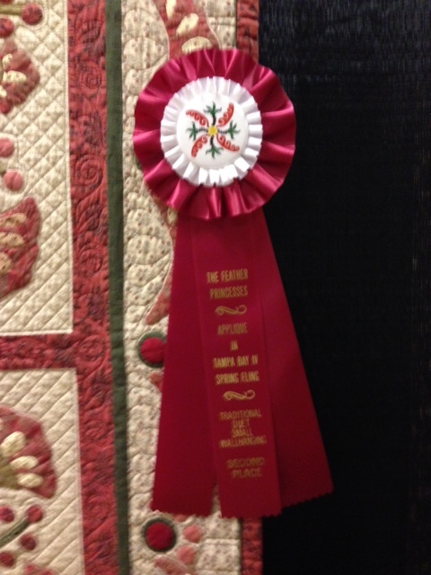 Sherry's Quilt 2nd place wall at Feather Princess.jpg