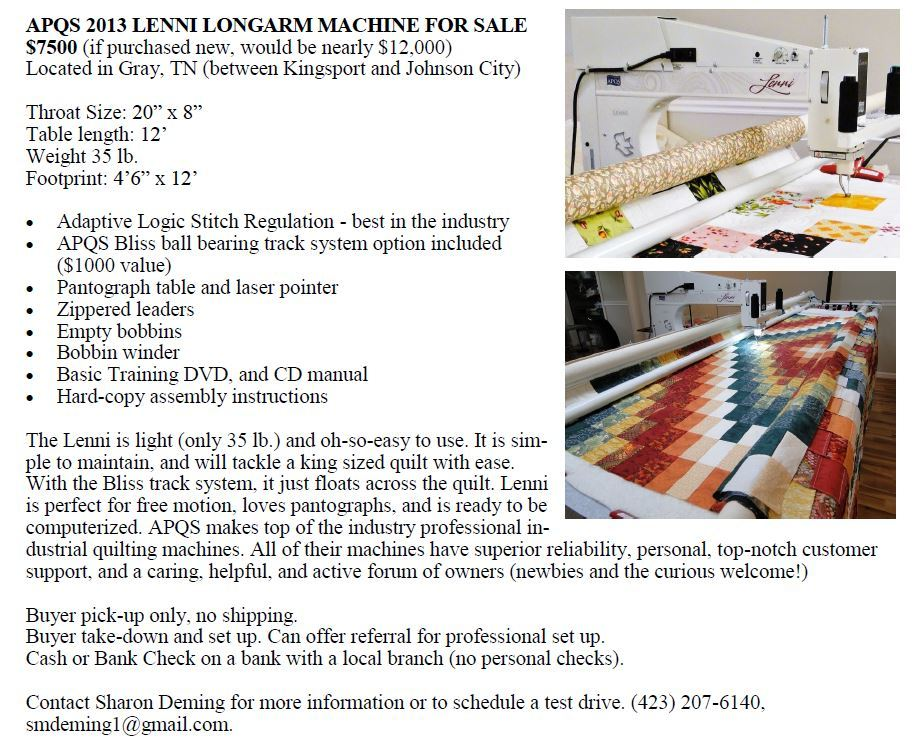 2013 Apqs Lenni Sold For Sale Used Quilting Machines Apqs