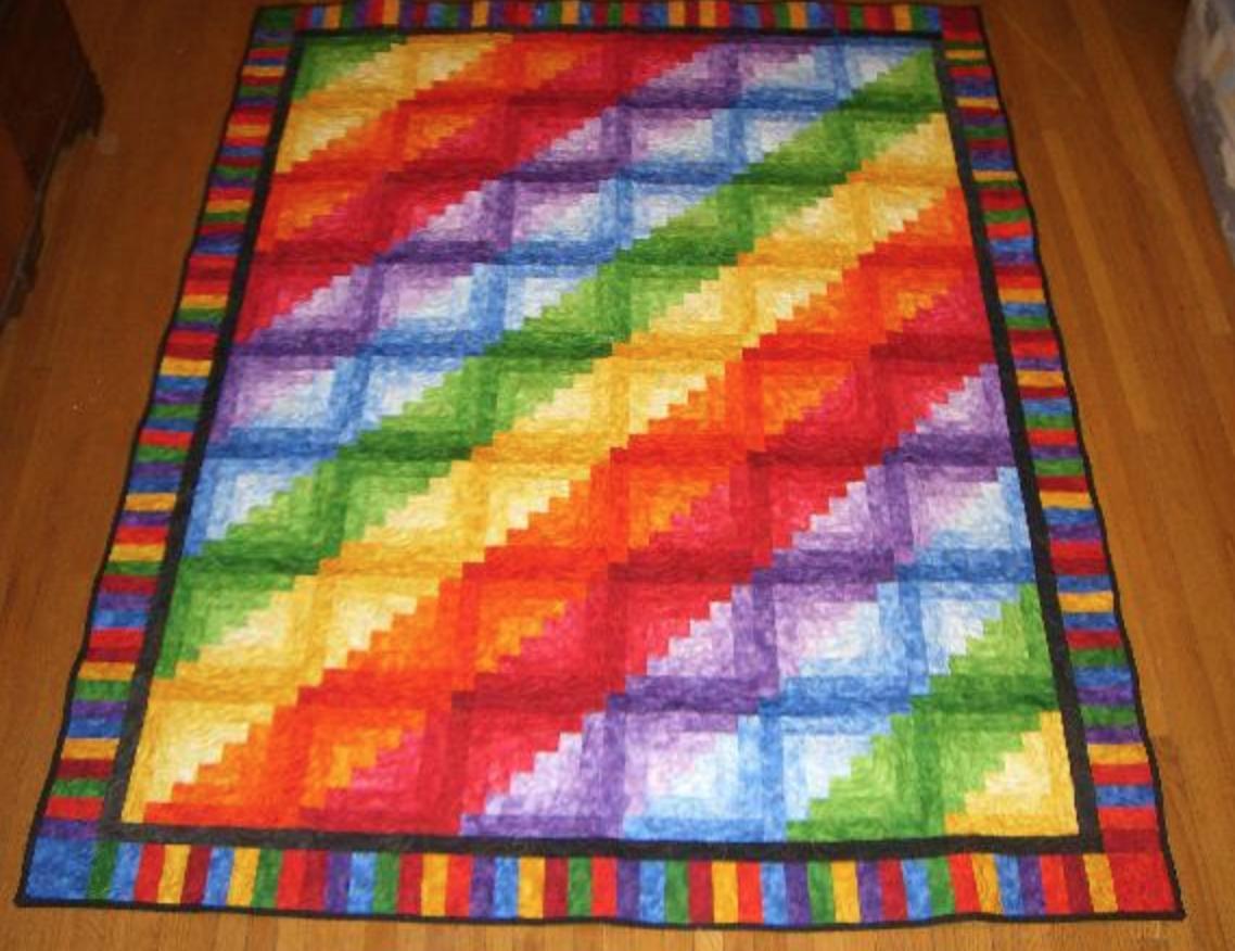 Rainbow Log Cabin - help please! - updated finished photos - Quilt ... : rainbow quilt pattern - Adamdwight.com