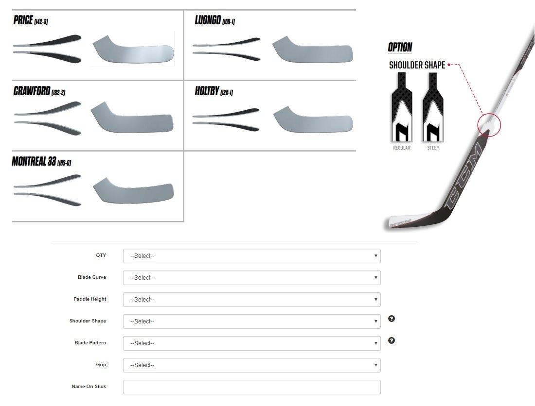 CCM composite goalie stick database