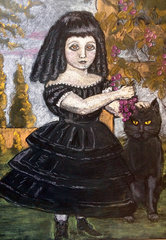 girl with her cat in a grape arbor