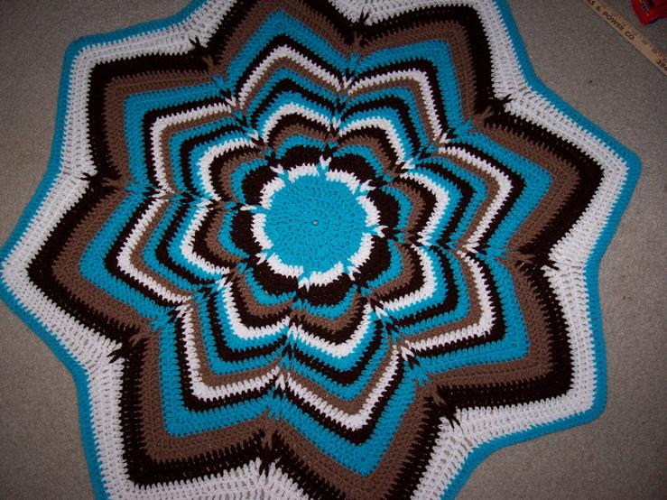 Jacobs Ladder Round Ripple 8 Pointed Star Afghan Crochet Afghans
