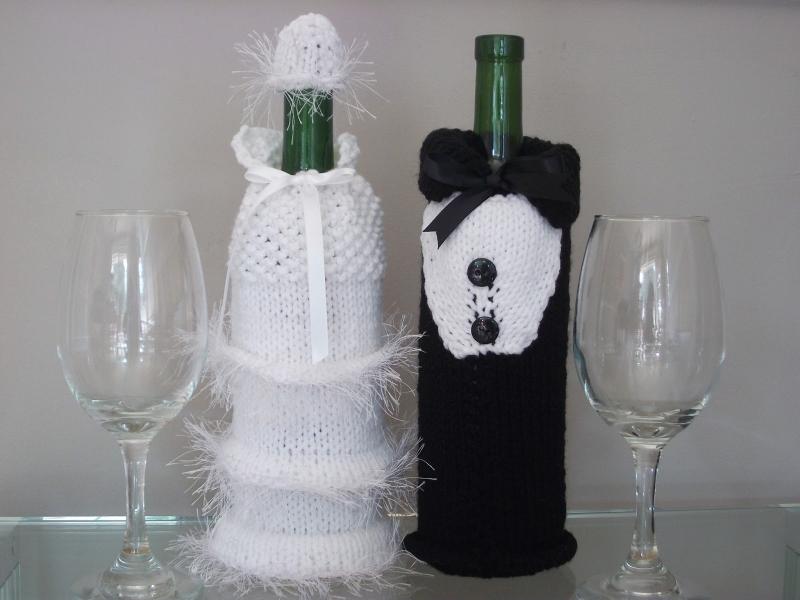 Crocheted Bridal Decor Wine Bottle Cozies Seeking Patterns