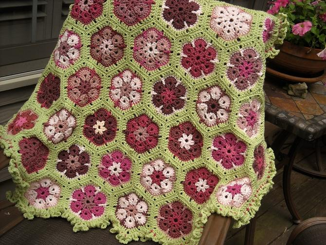 African Flower Afghan From Rosy Scraps Afghans Crochetville