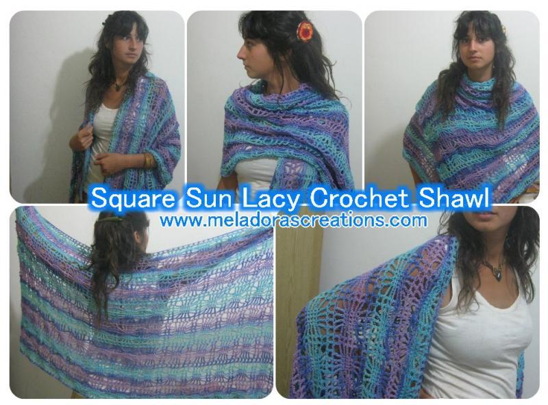 Square Sun Lacy Crochet Shawl Free Crochet Pattern Free Pattern