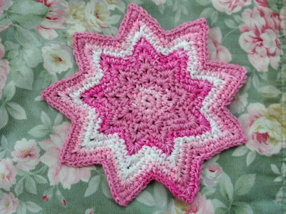 Sc 8 Point Round Dishcloth 8x8inches Point To Point 2 Images