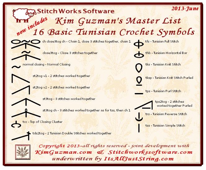Stitchworks Adds Kim Guzman Tunisian Symbol Tunisian Crochet
