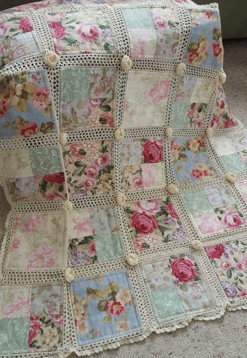Crochet and fabric quilt - Tutorial and pattern - Free Pattern ... : crochet quilt pattern - Adamdwight.com