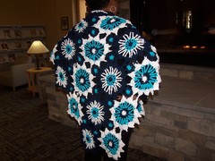 Blue Bursting Blooms Shawl