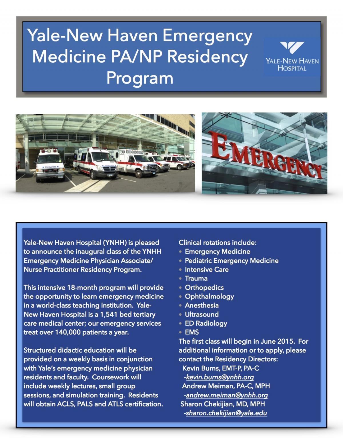 Yale-New Haven Hospital Emergency Medicine Residency