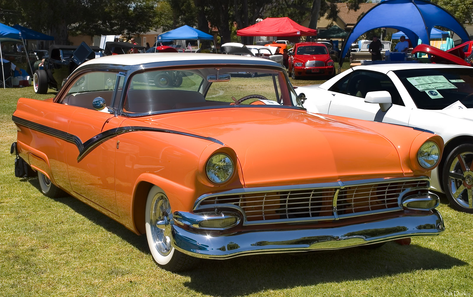 Ford Post War Antique Automobile Club Of America Discussion Forums 1953 Crown Victoria Skyliner 1956 Fairlane 2 Dr Ht Slight Mod White Over Salmon Color