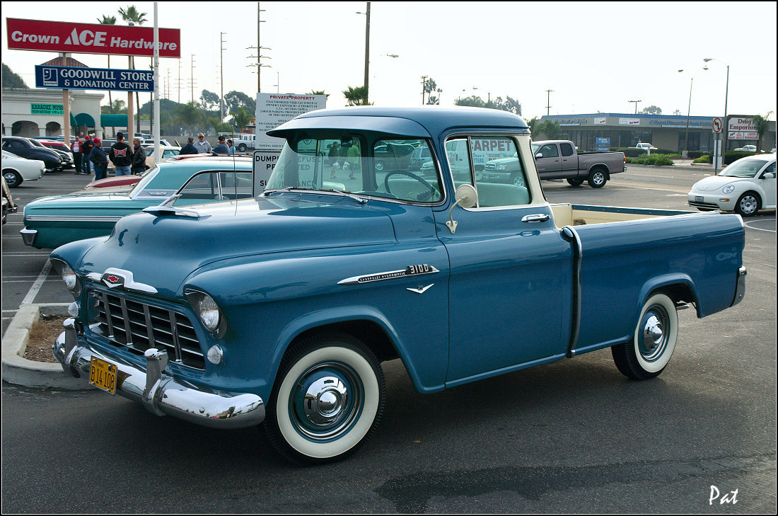 1956 Chevrolet 3100 Cameo Fleetside pickup - blue - fvl =Pat D ...