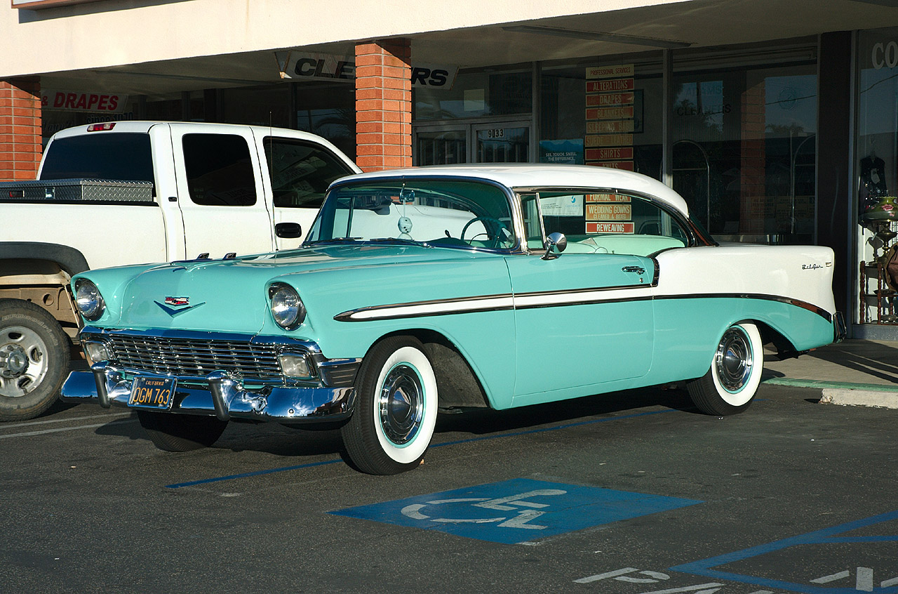 1956 Chevrolet Bel Air Sport Coupe White Pinecrest