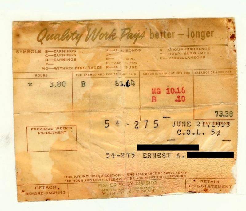 How much was Ernie really getting paid per hour in 1953 to