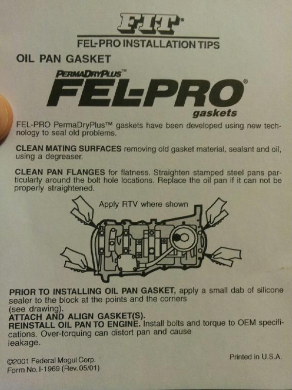 Oil Pan gasket- dry install with no RTV? - Buick Reatta