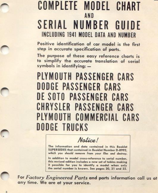 1914 TO 1941 COMPLTETE MOPAR MODEL CHART & SERIAL # GUIDE - Cars For