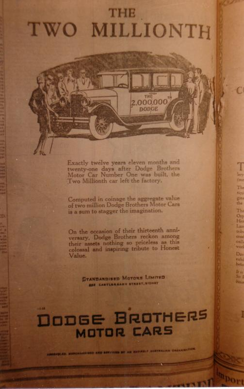 1928 Dodge Brothers Adds Australia Dodge Dodge Brothers