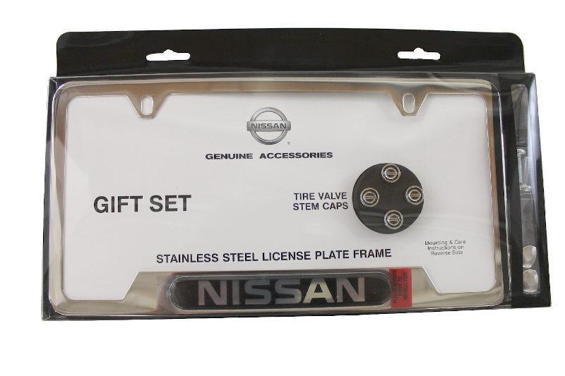 Collector NISSAN License Plate Frame, Logo Valve Stem Caps Gift Set ...