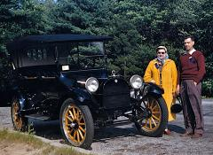 Carl & Mary with their 1915 Dodge Brothers touring car, 1956