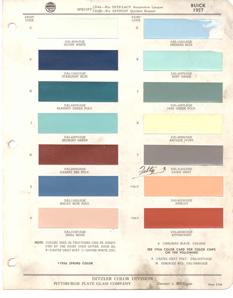 1956 Ford Wiring Color Codes Library Gm 1957 Buick Ppg C 01 Colors