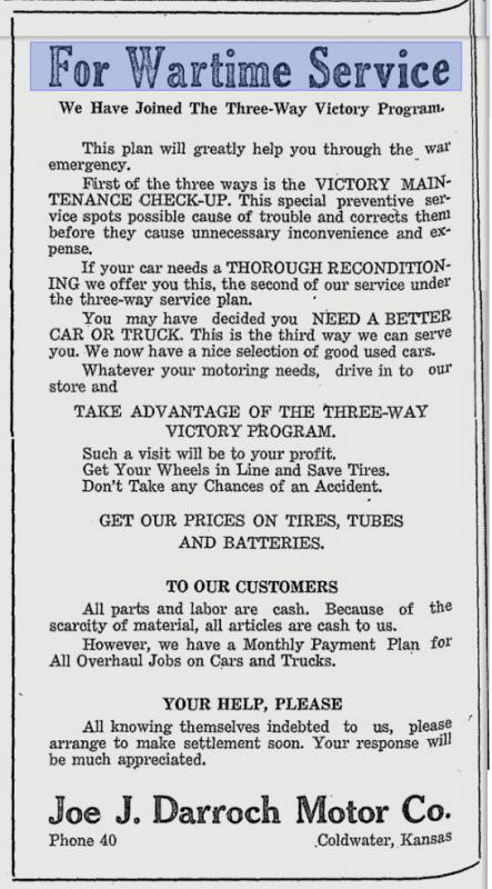 Joe J Darroch Motor Dodge & Plymouth Ad April 17, 1942 The western Star Coldwater Kansas zoom.JPG