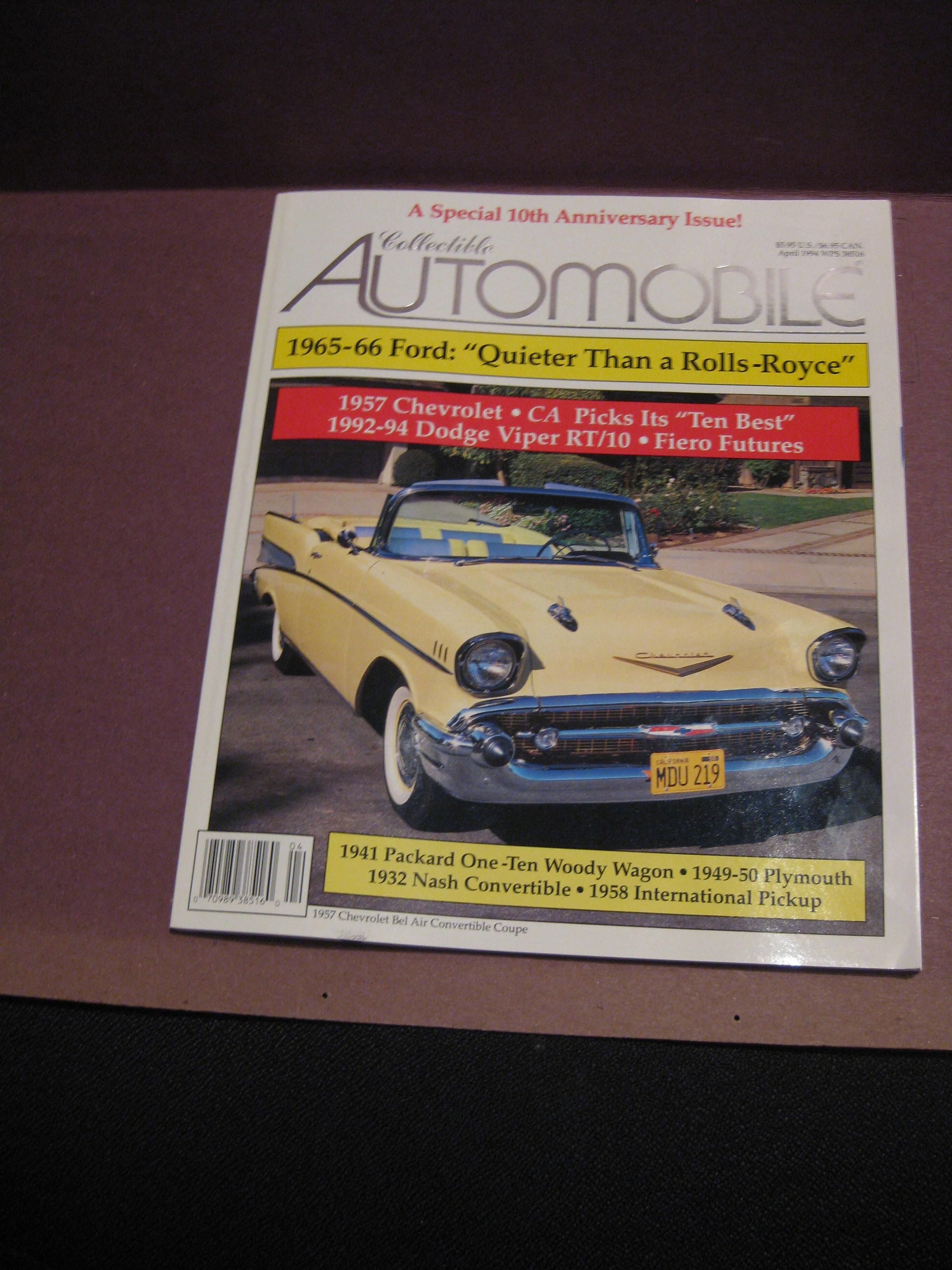 Collectible Automobile Magazine April, 1994 - Cars For Sale