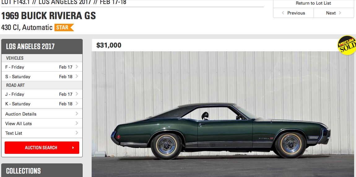 MECUM Los Angeles Auction results (Feb. 17-18) - Buick Riviera ...