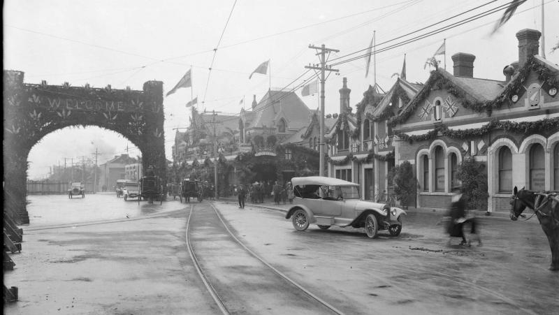 Welcome Gateway,Christchurch, with decorated buildings, for Peace Day 1919, said to show railway station.jpg