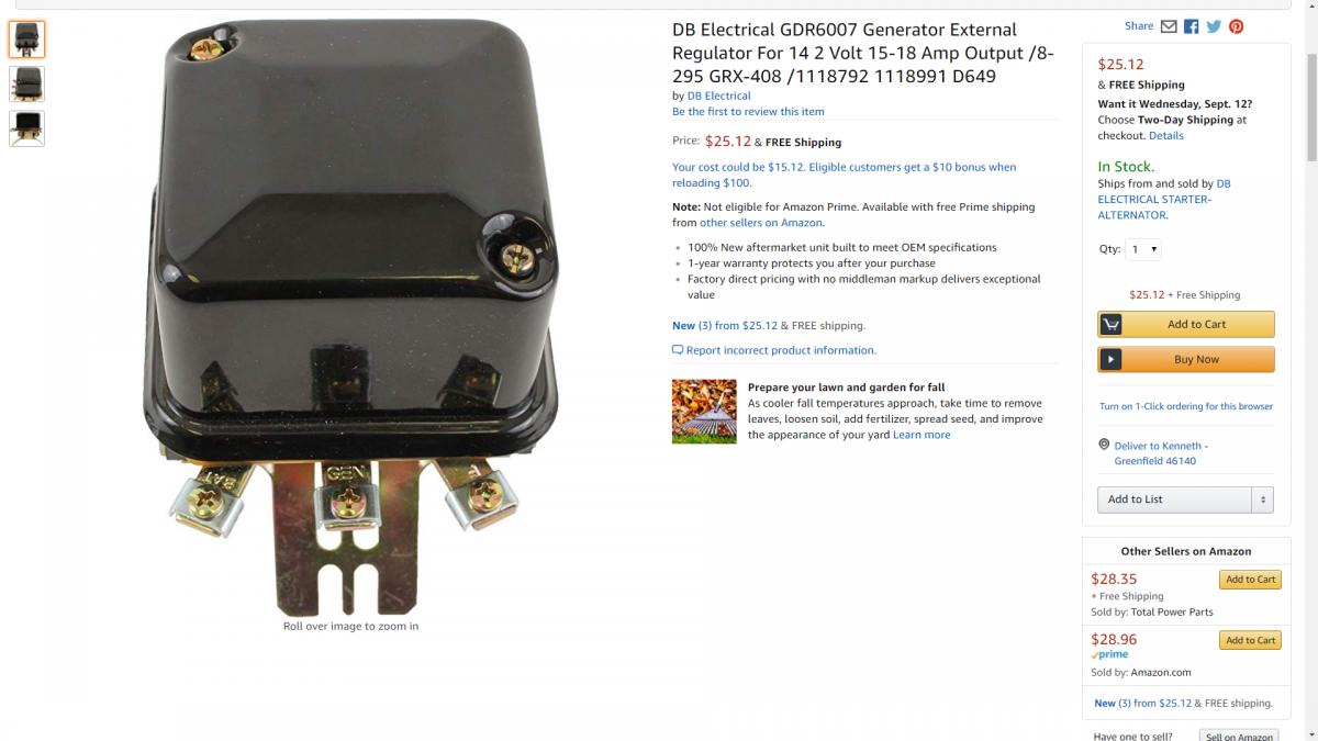 d649 voltage regulator Delco OE# 1118792 1118991