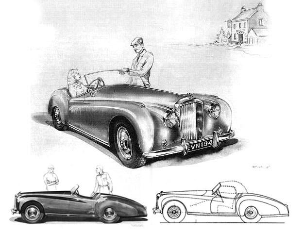 John Blatchley's early '52 Bentley drawing looks more like Jag XK120 competitor.jpg