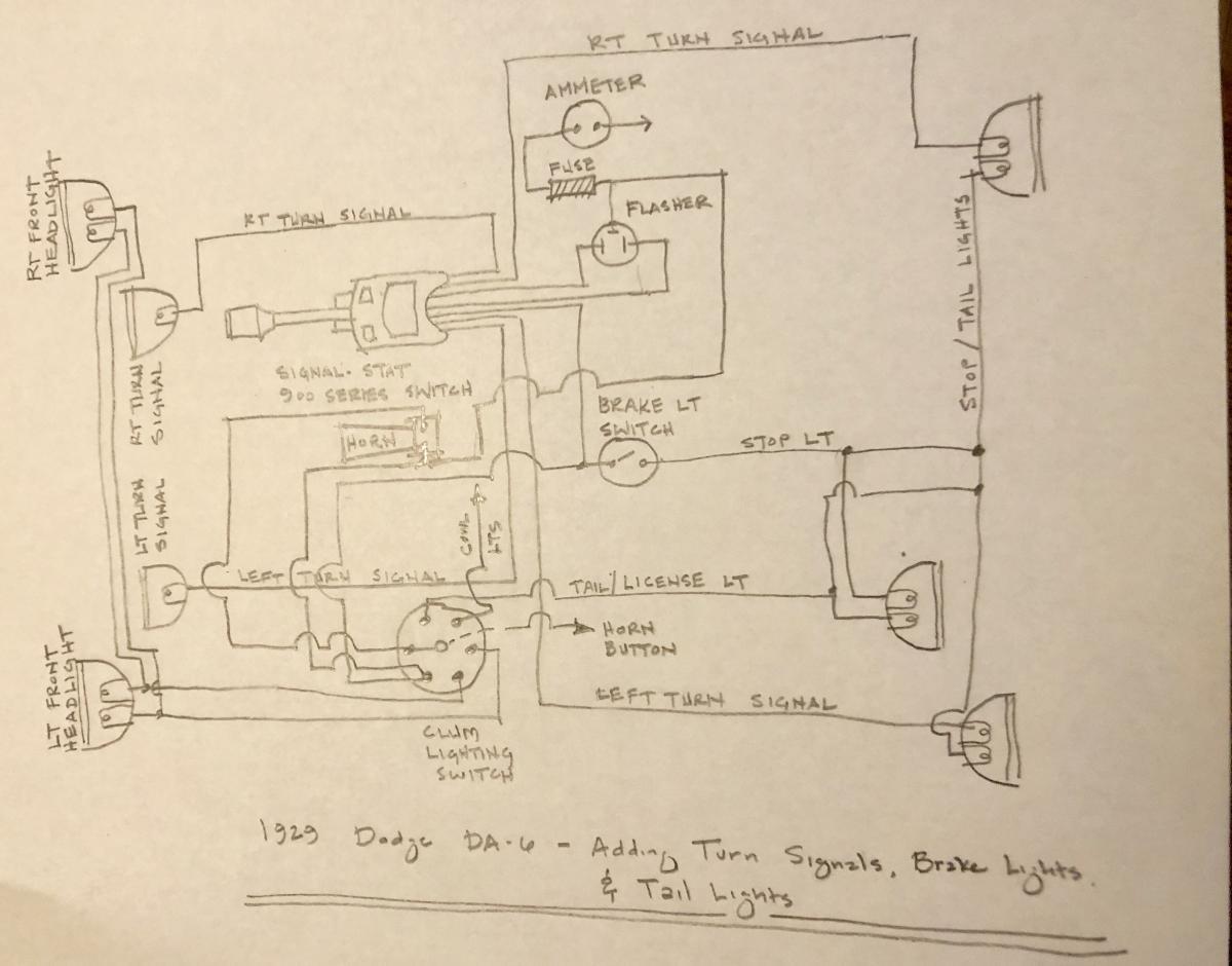 brake signal wiring diagram 1929 dodge vs new rear tail   turn and brake lights technical  1929 dodge vs new rear tail   turn and