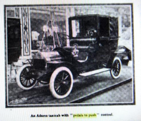 Adams taxicab with pedals to push control Motor Traction May 9 1908 p478.JPG