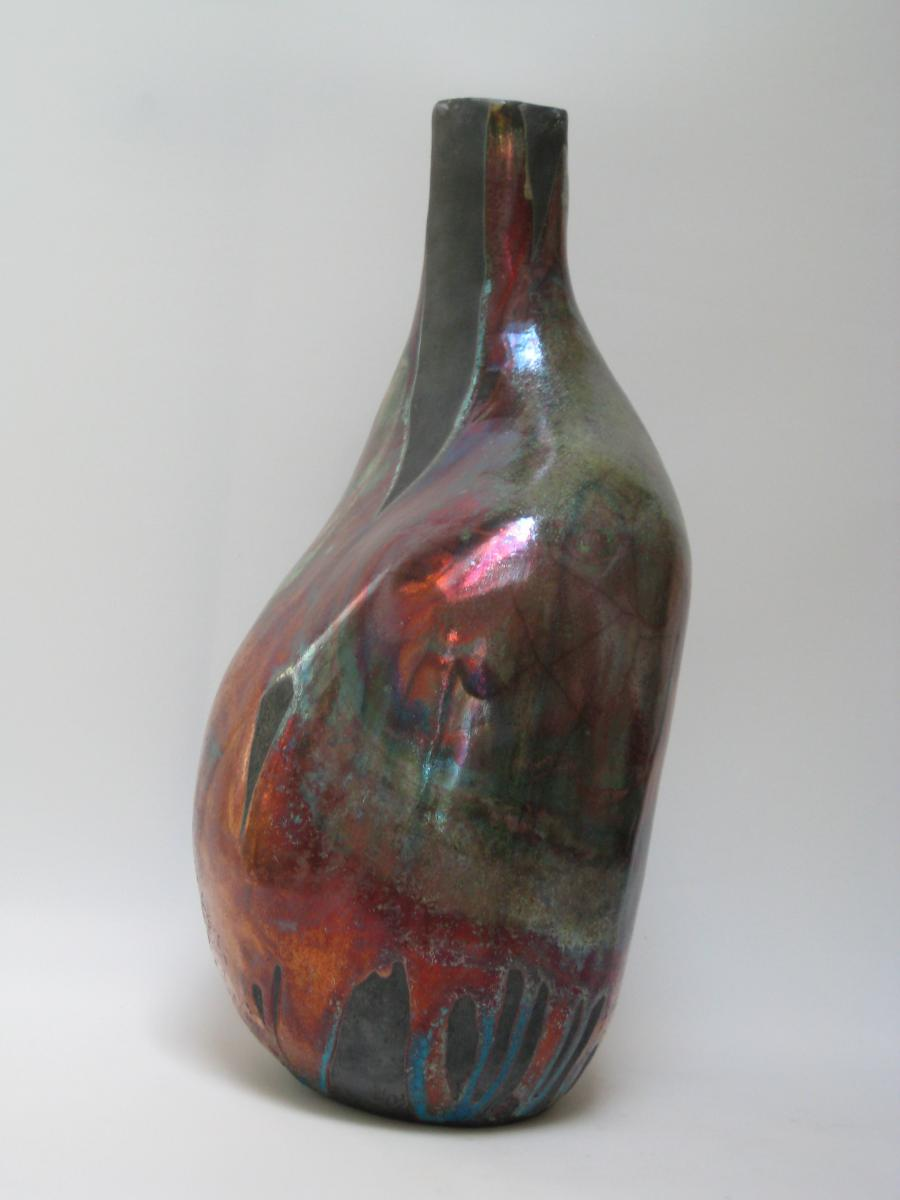 Vase object; Ceramic; Raku; Copper glaze