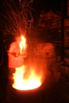 Firing my Barrel Kiln at Night