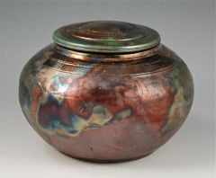 Raku lidded pot by Diann Adams