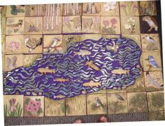 Water mosaic with shaped tiles