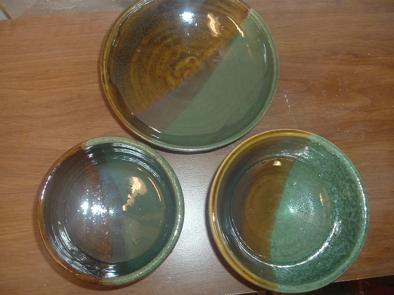 bowls using Howell's Amber Celadon and Orebe Green