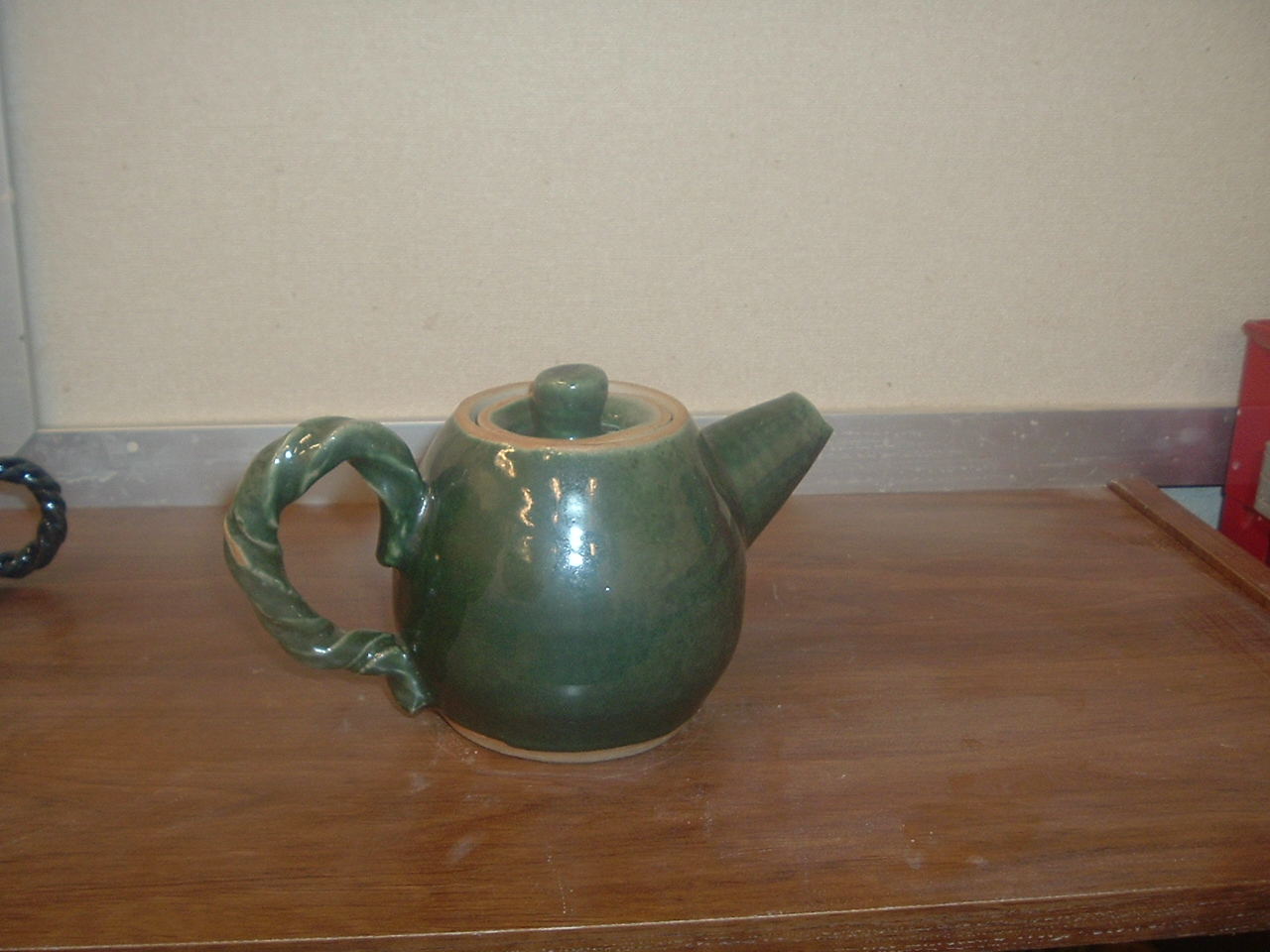 Teapot with Oribe Green