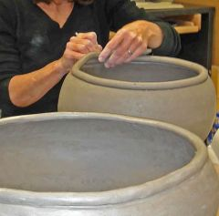Hand Built Large Coiled Pots - by Patty Storms