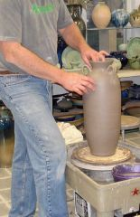 Tal Stoneware Urn in the making  - by Morty Bachar