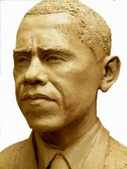 Terra Cotta Barak Obama Portrait by Juan L Andreu