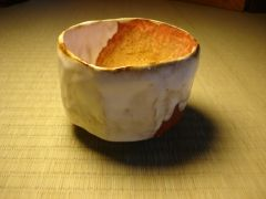Red-Brown, Ochre and White Tea Bowl