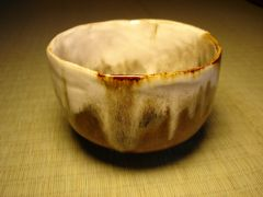 Brown and white Hand Built Tea Bowl