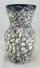 Sgraffito Black and White Vase