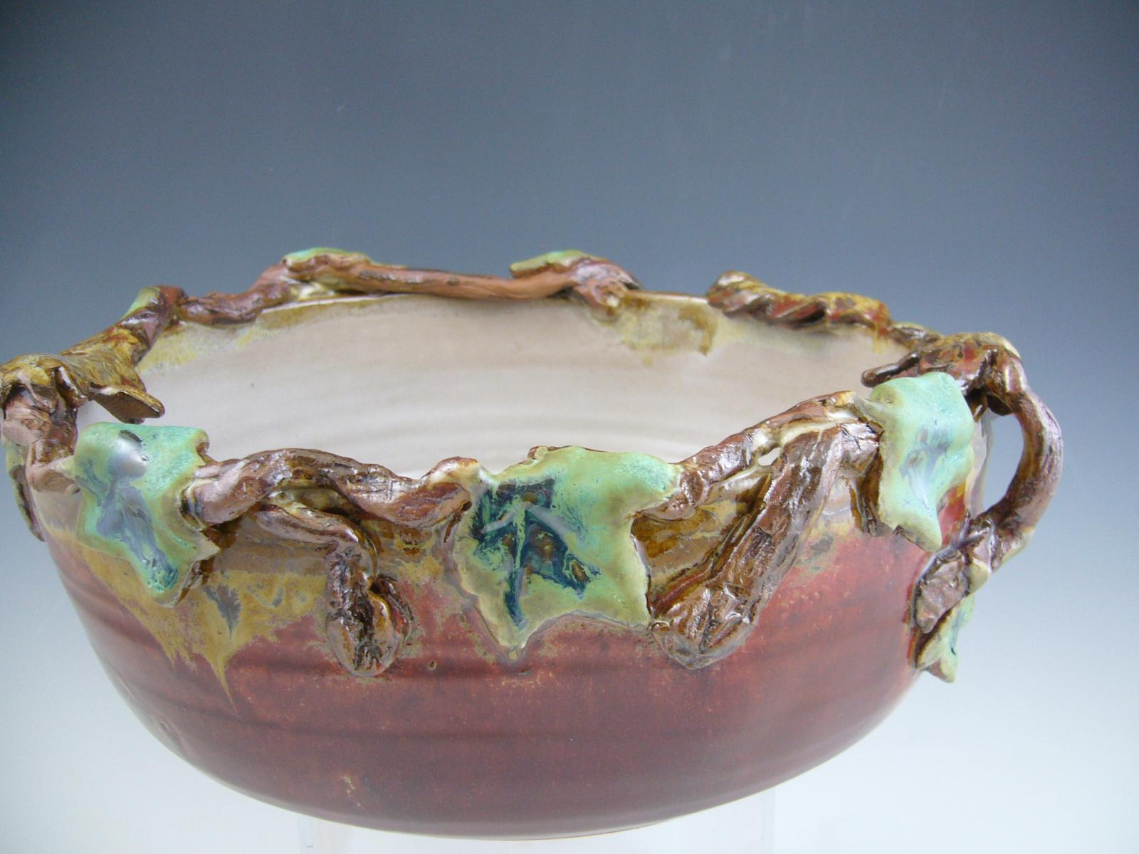 Wheel Thrown Bowl Rimmed with Leaves