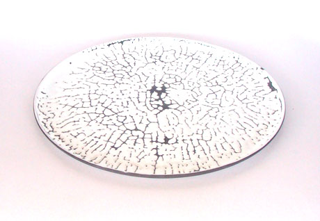 black slipcasted plate with white crawl glazing (2)
